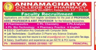 Annamacharya College of Pharmacy Rajampet Assistant Professor, Associate Professor DEO, Lab Technician Jobs Recruitment 2019