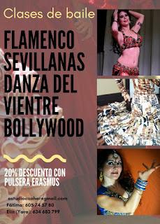 Danza del vientre sevilla,  Bollywood sevilla, flamenco,  sevillanas