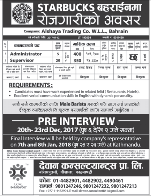 Jobs in Bahrain for Nepali, Salary Rs 1,09,200