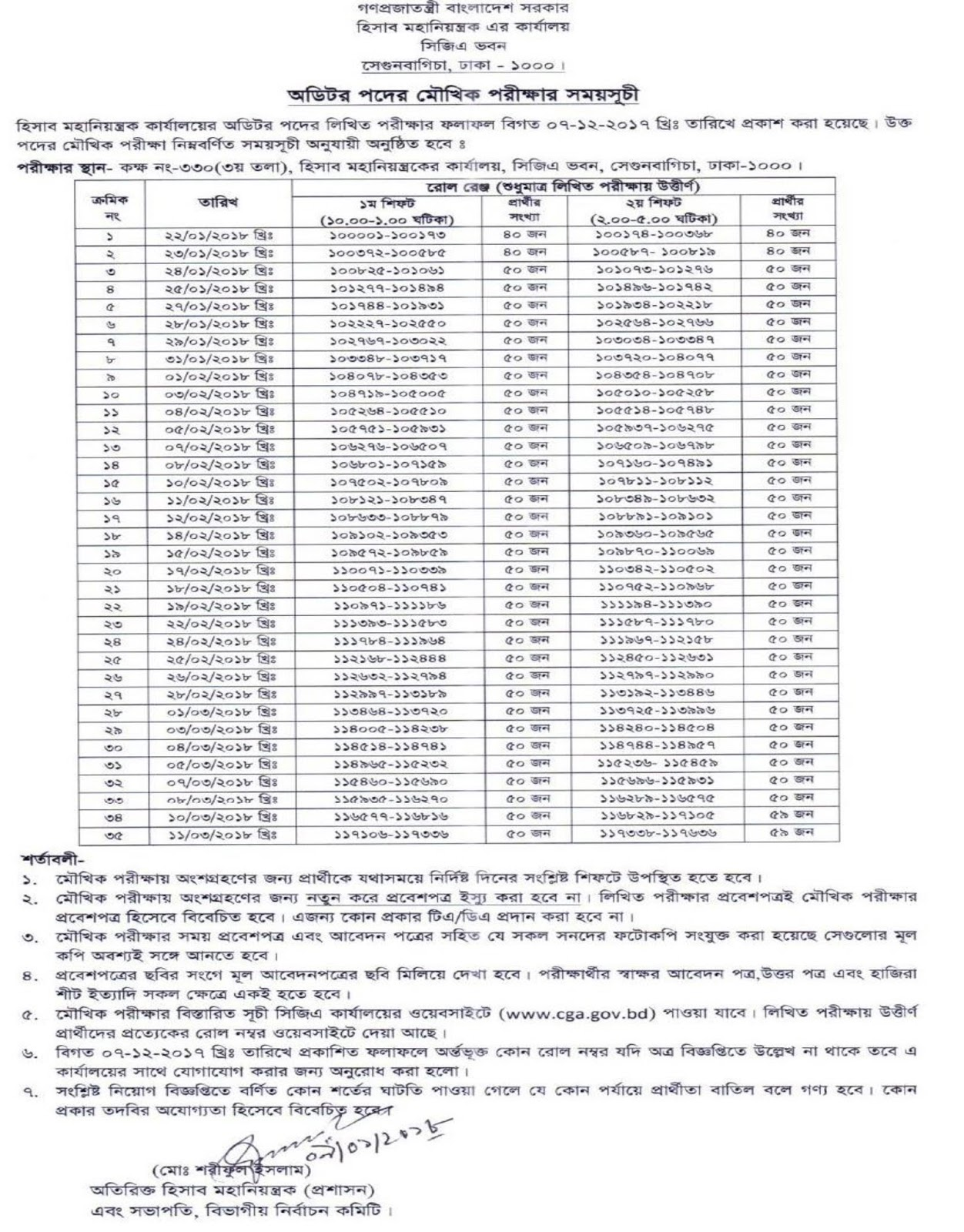 CGA-Controller General of Accounts Auditor Viva Test Date, Time and Seat Plan