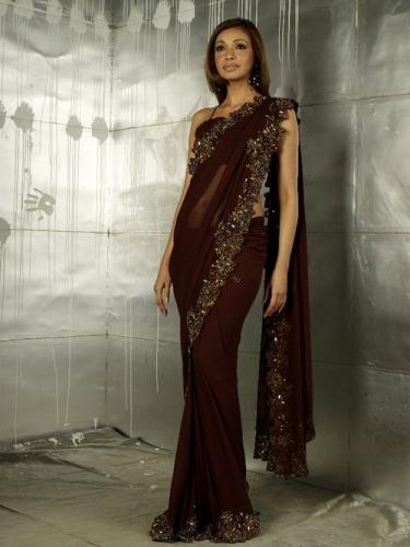 Designer Brown Saree