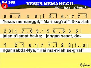 Lirik dan Not Kidung Jemaat 355 Yesus Memanggil