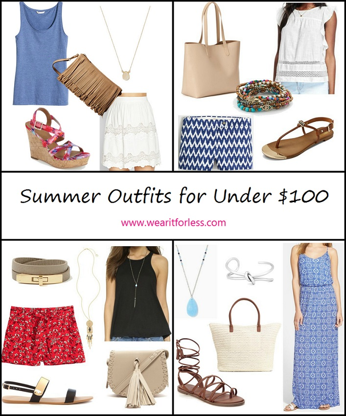 Outfit inspiration for summer, outfit ideas for under $100, clothing on sale, shorts outfits, skirt outfits