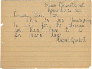 Letter from second graders to Peter Pan