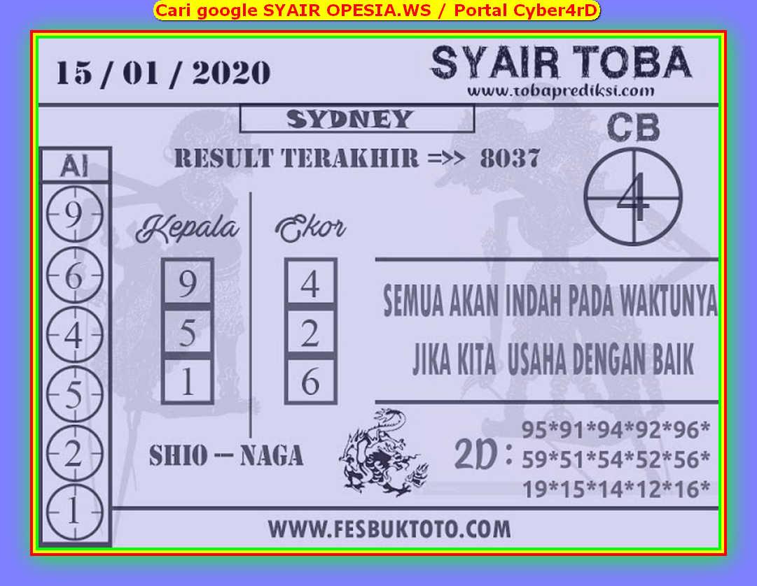 Kode syair Sydney Rabu 15 Januari 2020 77