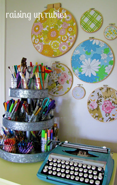 pen storage hoop wall art Raising up Rubies craft room via Funky Junk Interiors