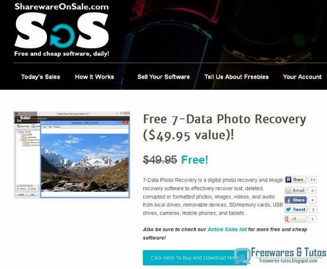 Offre promotionnelle : 7-Data Photo Recovery gratuit !