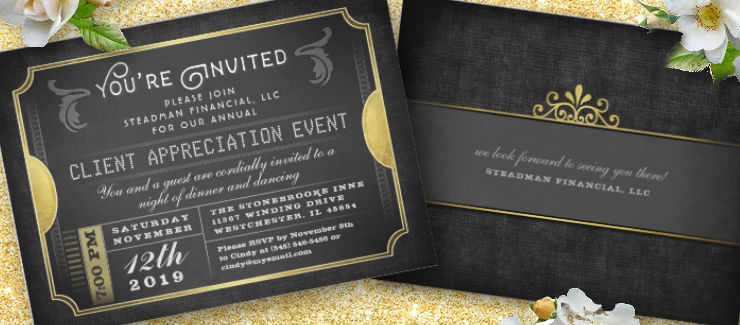 Black and Gold Corporate Ticket Event Invitation