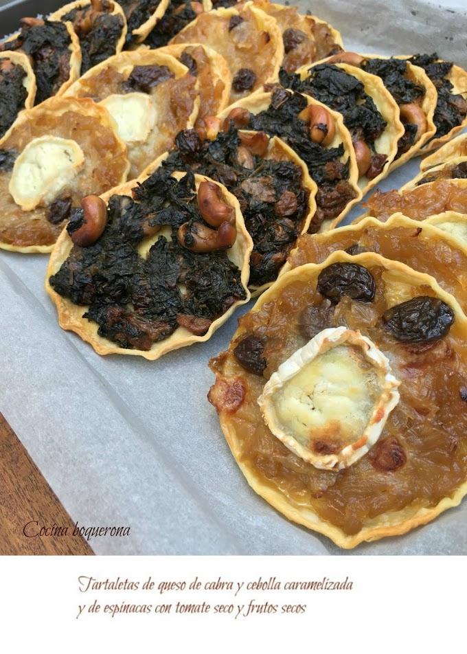 Tartaletas de cebolla caramelizada y queso de cabra y de espinacas, tomate seco y frutos secos