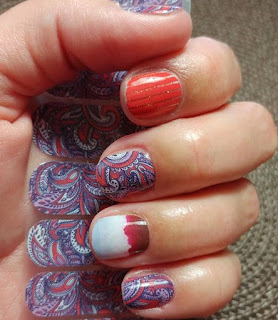 June Host Exclusive paired with #MoabJN and #FireballJN mixed mani with purple and red paisley