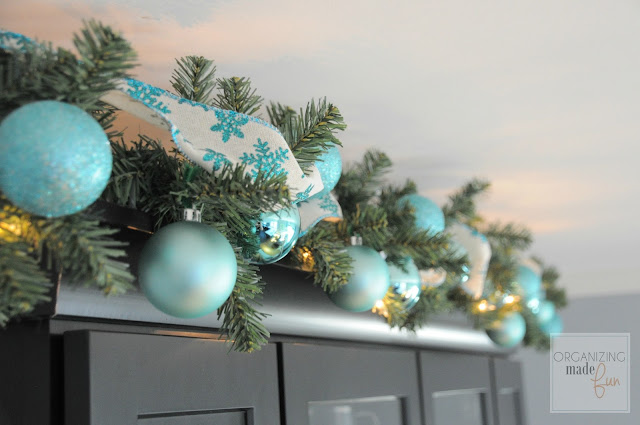 Turquoise and silver garland decor for Christmas