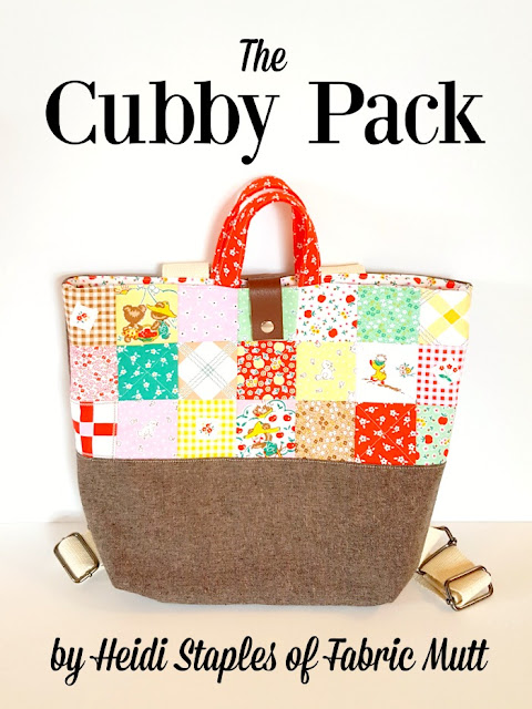 The Cubby Pack backpack tote sewing tutorial by Heidi Staples of Fabric Mutt