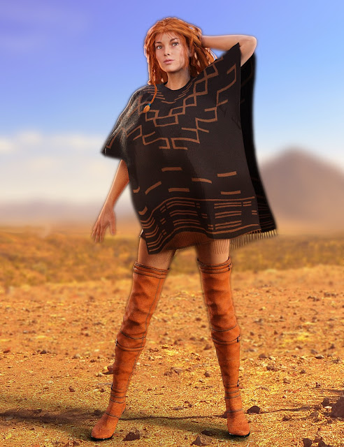 Poncho Girl Outfit for Genesis 3 Female and Victoria 7