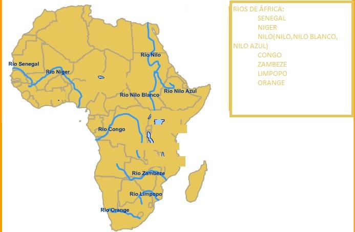 Mapa De Africa Rios.Som Verds Africa Para Examen Rios Y Relieve Completos Y Mapas Mudos