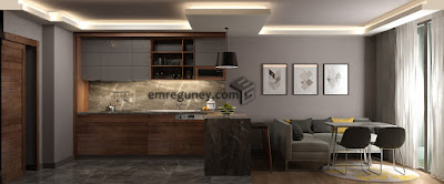 yaşam alanlı mutfak tasarımı