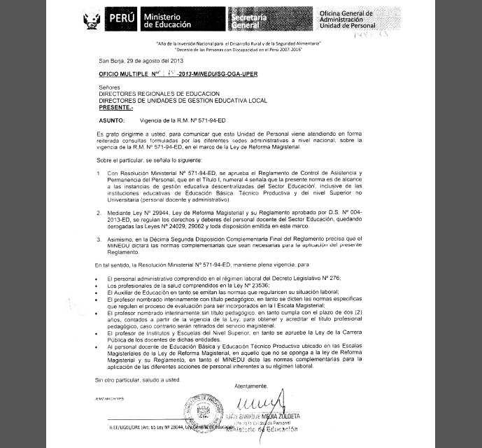 Reglamento de Control de Asistencia y Permanencia del Personal de las Instituciones Educativas - Oficio Multiple Nº 0078-2013-minedu/SG-OGA-UPER