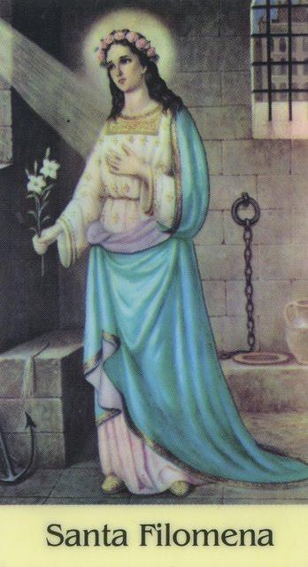 Santa Filomena encarcelada con la azucena en la mano