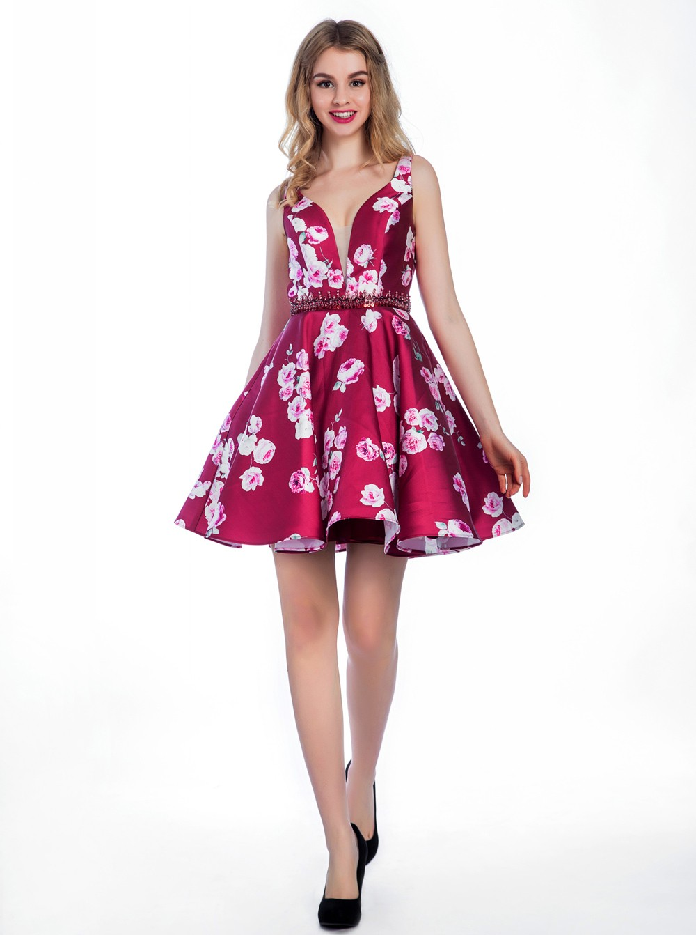 Cute A-line V-neck Backless Short Fuchsia Prom/Homecoming Dress With Beading