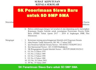 SK Penerimaan Siswa Baru untuk SD SMP SMA