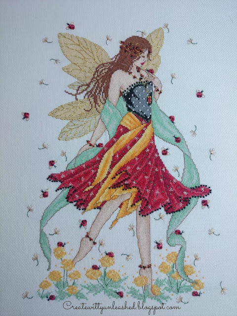 Cross stitch Lady Bird fairy by Joan Elliot
