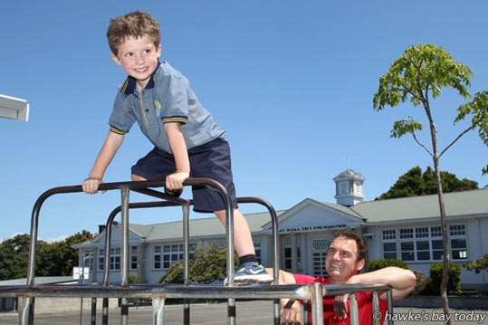 Stuart Nash, Labour MP, Napier, with his son Will, the fifth generation in his family to attend Napier Central School, Napier, who has his first day on Tuesday. photograph