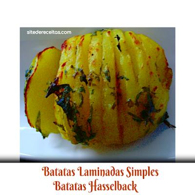 Batatas laminadas simples - batatas Hasselback