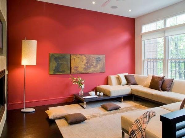 Ruang Tamu Minimalis Nuansa Merah
