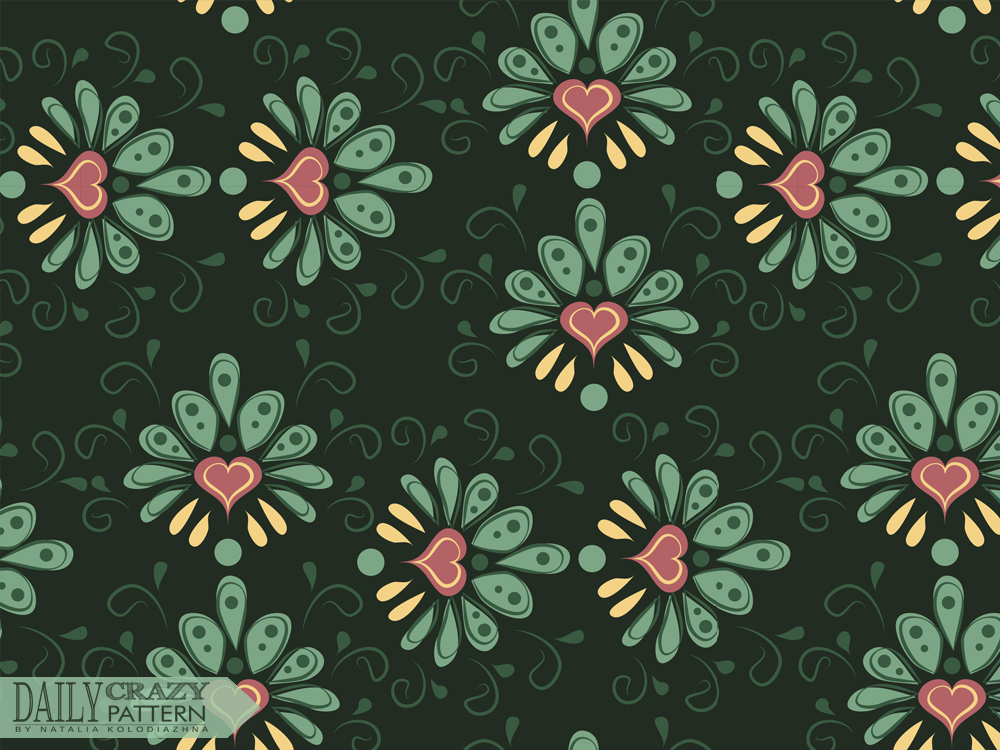 "Floral vintage pattern for ""Daily Crazy Pattern"" project"