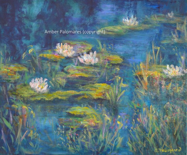 Impressionist Monet Style Water Lily Marsh Landscape