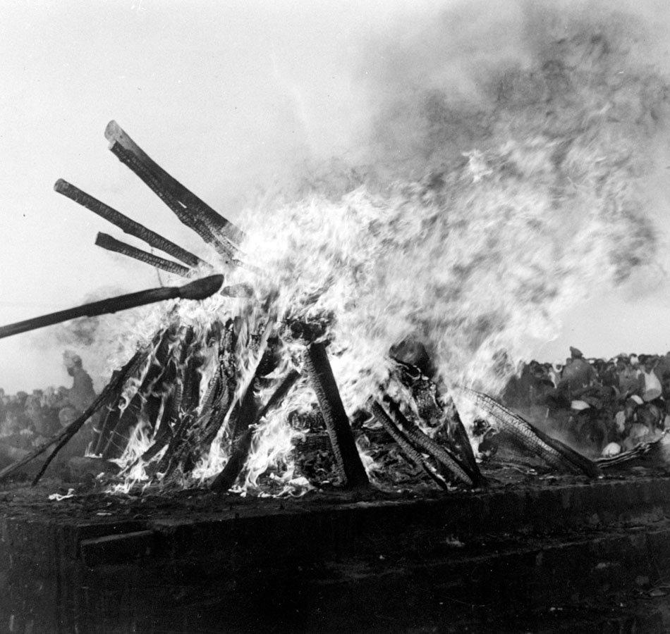 Image result for gandhi cremation