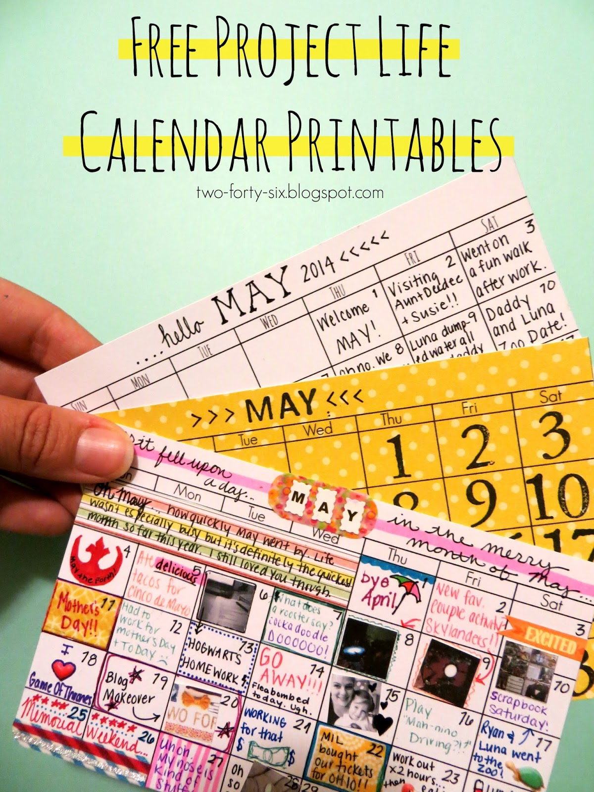 Two Forty Six Project Life Calendar Printables