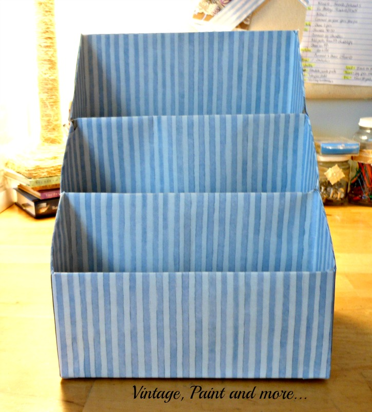 Vintage, Paint and more.. paper organizer made from cereal boxes and scrapbook paper