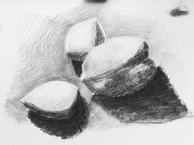 Daily Art 12-3-17 still life sketch in graphite number 51 - walnut and almonds