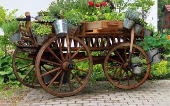 Wallpaper: Cart for garden decoration