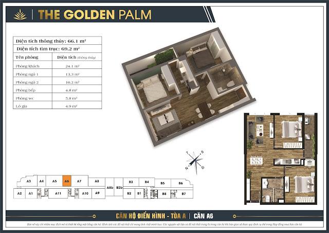 Mặt bằng căn A6 tòa A chung cư The Golden Palm