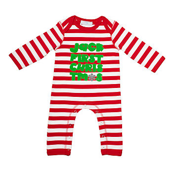 Baby's First Christmas Pajamas MadelinePetersen I can think of nothing cuter than a sweet baby in festive Christmas pyjamas (no, I am not British, I just like the way they spell pajamas – it's.