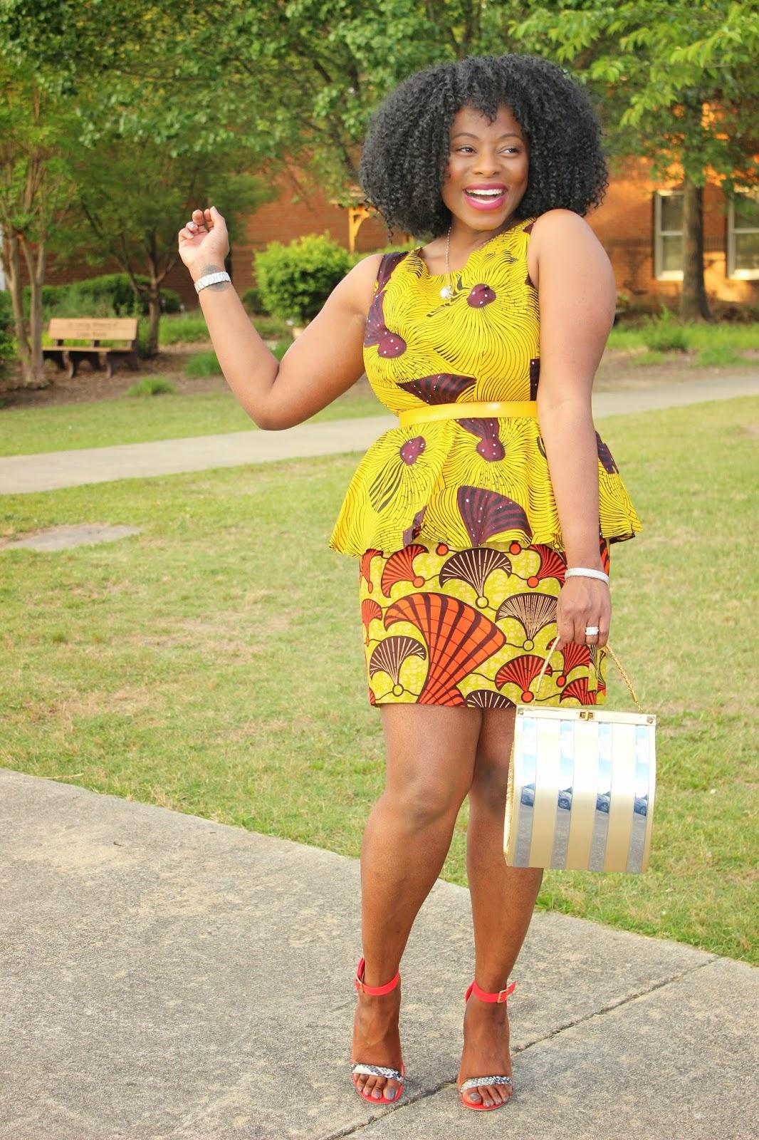 Justjewels4u Suakoko Betty Peplum African Print Dress