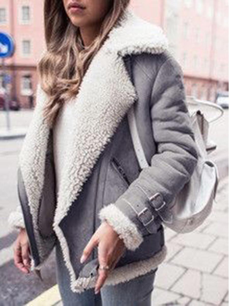 Trendy Fur Lapel Grey Jacket
