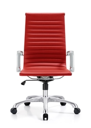 Contemporary Red Leather Office Chair
