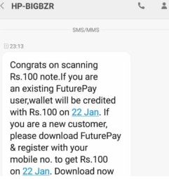 How To Get Rs.100 Future Pay Money on Scanning Note