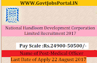 National Handloom Development Corporation Limited Recruitment 2017-Medical Officer