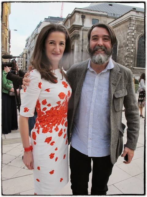 Sarah Canet, restaurant PR, wearing her Kate Middleton dress with chef Nuno Mendes.