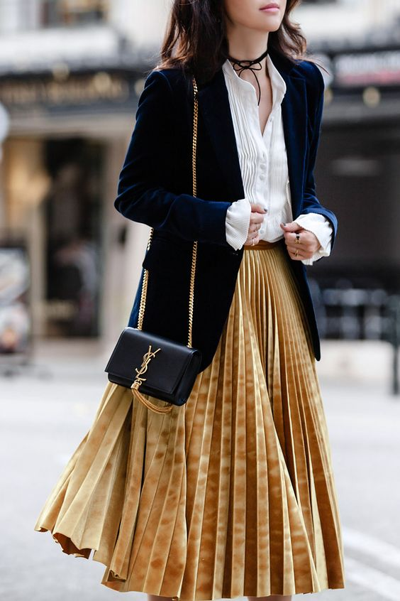 pleated metallic skirt, velvet jacket