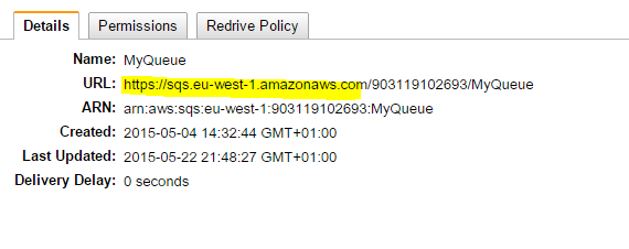 I think   : AWS: The specified queue does not exist for this wsdl