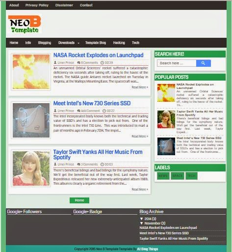 NEO Blogger Template 2015