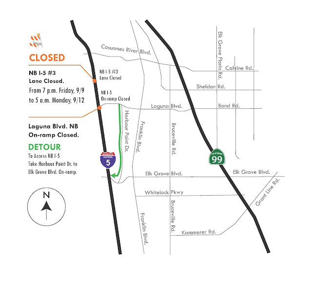 Emergency Work, Lane Closure Starting Friday Night on Northbound I-5 in Elk Grove