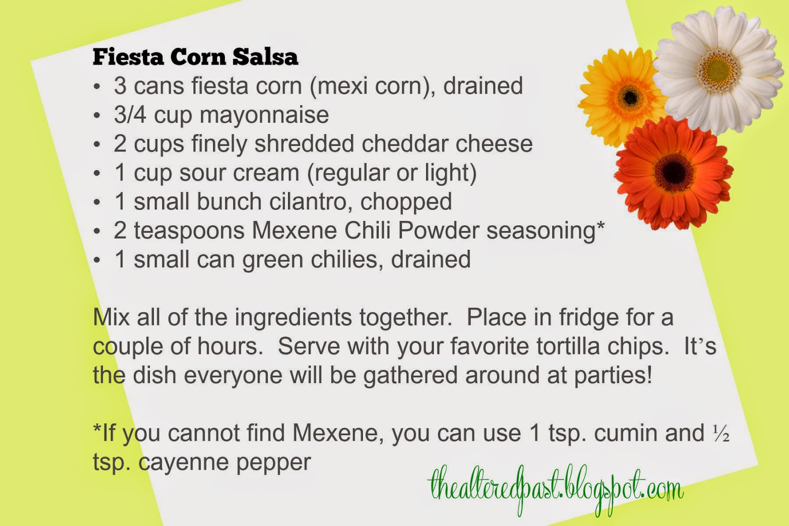fiesta corn salsa, super bowl party recipes, the altered past