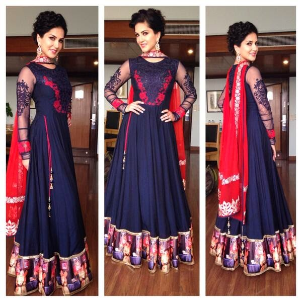 Sunny Leone in Rohit Verma, looking pretty in blue Anarkali dress for promoting Ragini MMS 2 movie in Lukhnow