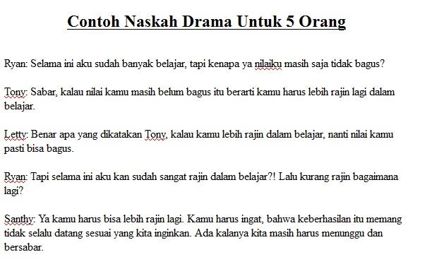Contoh Teks Drama Komedi Singkat 5 Orang Swinglinoa