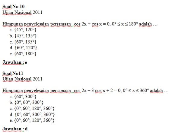 Soal Un Dan Jawaban Trigonometri Magister Matematika